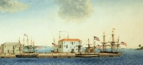 View from Crowninshield Wharf, George Ropes Jr.  Peabody Essex Museum