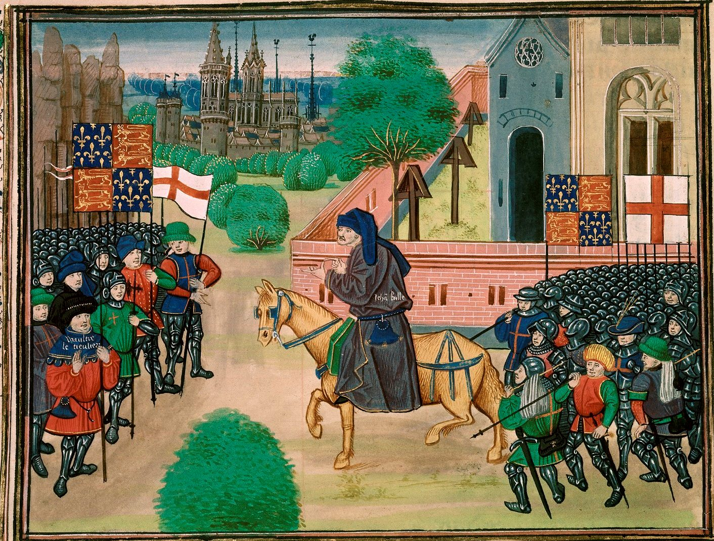 the peasants revolt During the peasants' revolt, a large mob of english peasants led by wat tyler marches into london and begins burning and looting the city several government buildings were destroyed, prisoners were released, and a judge was beheaded along with.