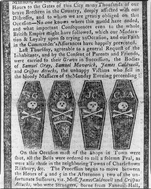 Boston Massacre Newspaper 1770