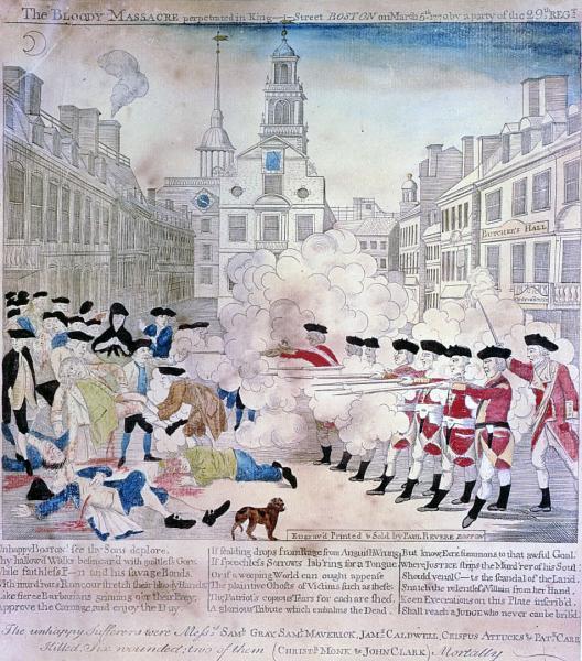 The Boston Massacre In Black White Color
