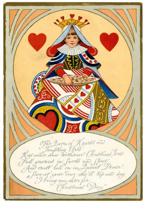 Queen of Hearts Christmas card 1896 BM