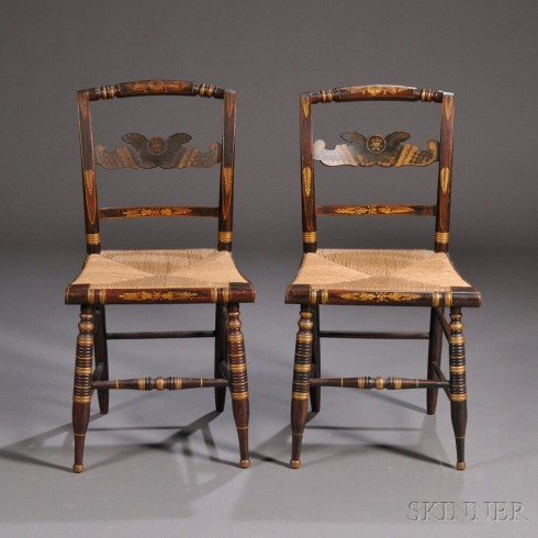 Fancy chairs grain painted and gilt stenciled 1825 Skinner 615