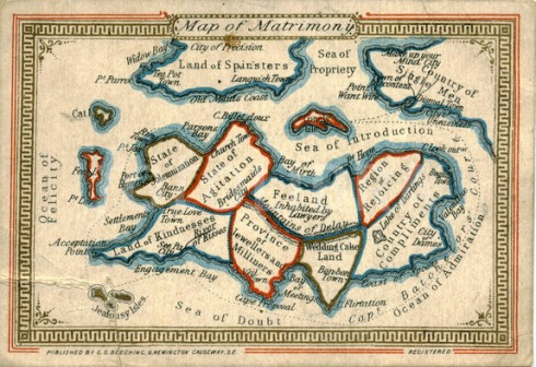 Victorian Map of Matrimony circa 1870