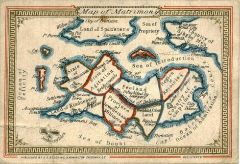 Victorian Map of Matrimony circa 1870