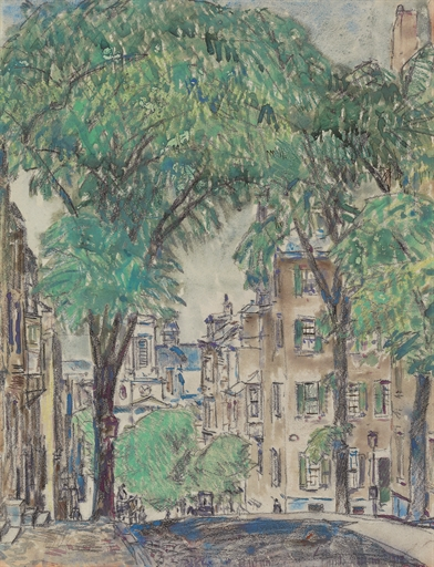 Boston Mt Vernon Street Childe Hassam 1919 Christies