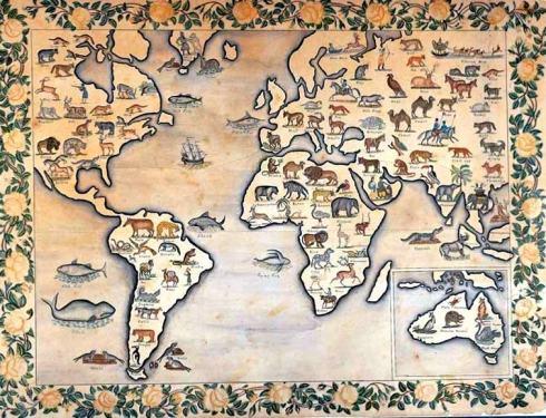 Map Animal Kingdom 1835 American Folk Art M