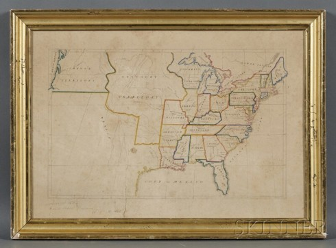 Schoolgirl map Quakers 1835 Skinner