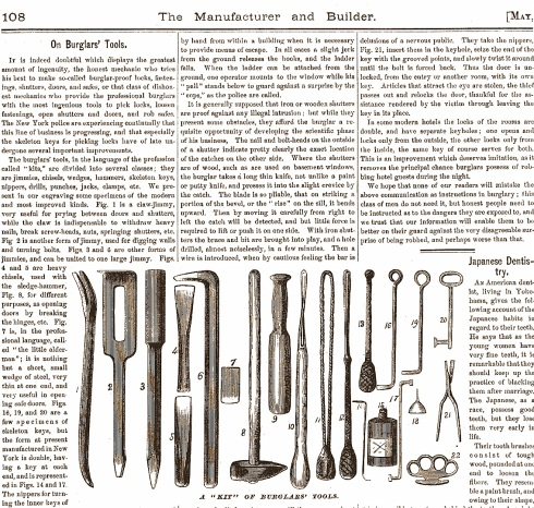 Burglarious Tools 1874 manufacturer and builder