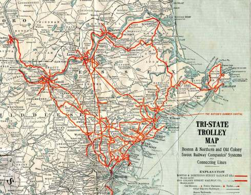 Boston & Northern  1911 Trolley map