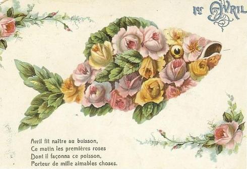 April Flower Fish card