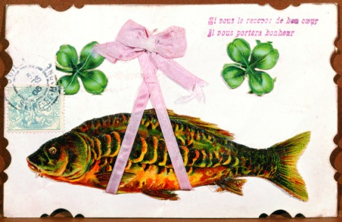 'If you receive it with a good heart, it will bring you luck', an April Fool's Day postcard, sent in 1906 (mixed media)