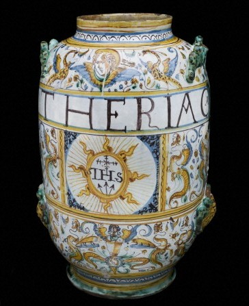 L0057175 Albarello vase for theriac, Italy, 1641