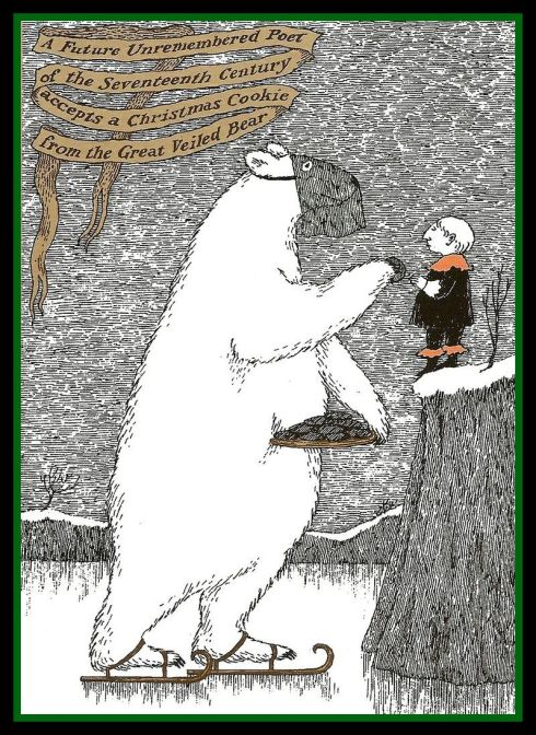 Gorey Great Veiled Bear Christmas Card