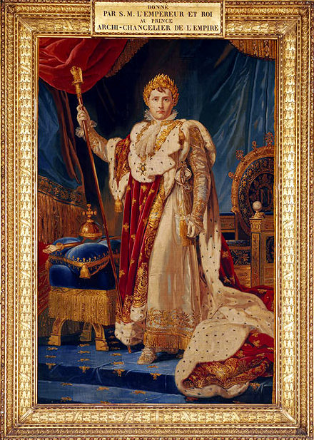 Napoleon Tapestry Portrait and detail of the coronation robe after a painting by Baron François Gérard, 1805