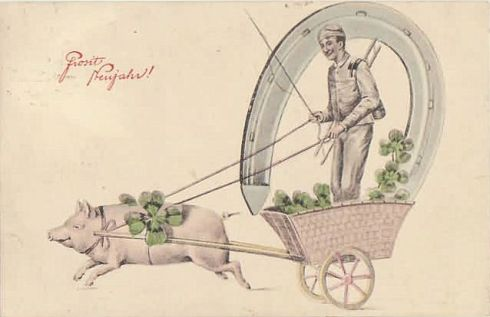 Porcine Postcard New Year's