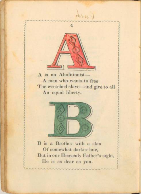 anti-slavery alphabet primer 1846 Letters A and B