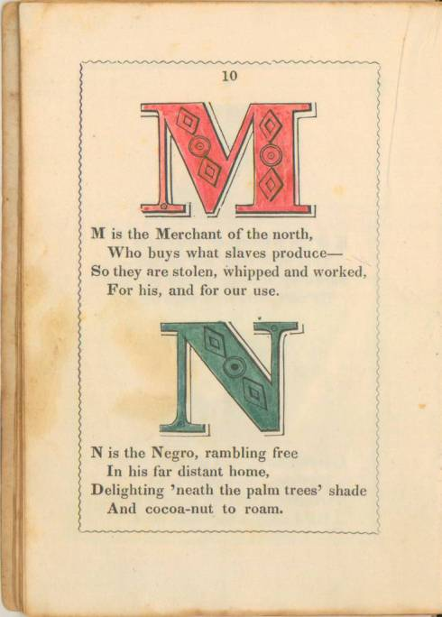 anti-slavery alphabet primer 1846 Letters M and N