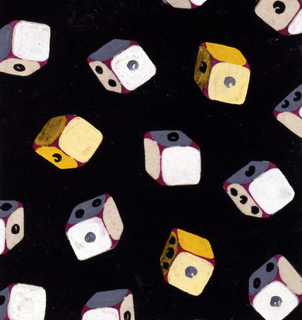 DES94132 Fashion textile design depicting tumbling dice, French, c.1930s (gouache on paper) by French School, (20th century); © The Design Library, New York, USA; French,  it is possible that some works by this artist may be protected by third party rights in some territories