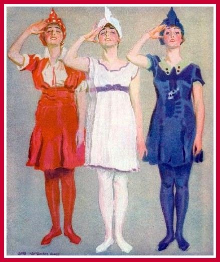 Flagg Girls 3 Cheers for the Red White and Blue 1918