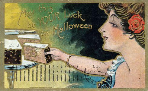 Halloween cake postcard