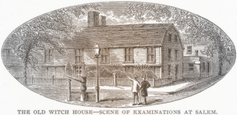 The Old Witch House--Scene of Examinations at Salem. Illustration from Columbus and Columbia (Manufacturers' Book Co, c 1893).