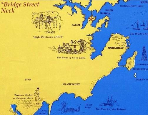 Salem Map 1970 Osher Romantic Boston Bay Text