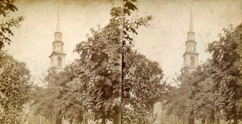 Stereoview Second Church Tilton