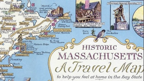 Pictorial Map Mass 1957 Chase