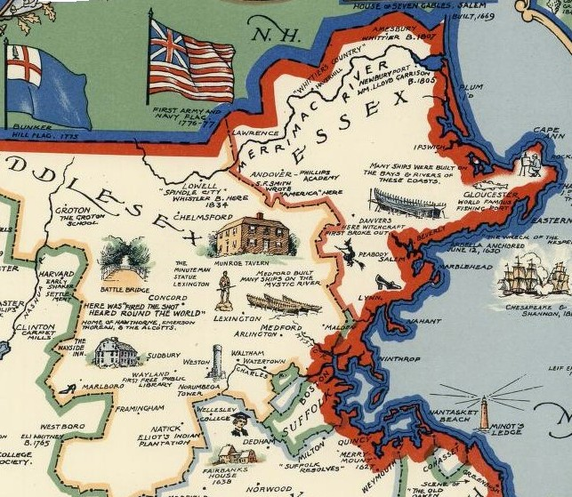 Pictorial Map Massachusetts Brown 1930
