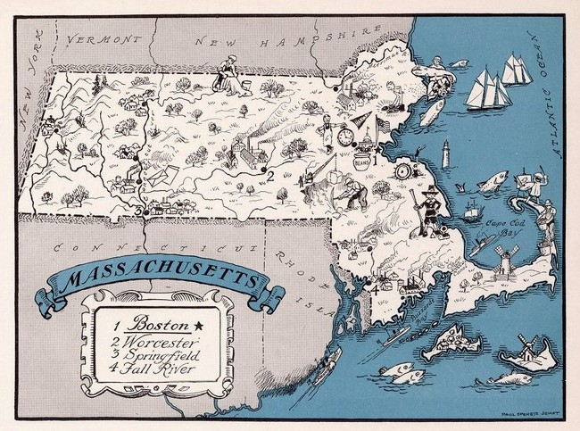 Pictorial Map Massachusetts Johst 1931