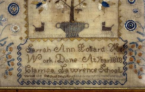 Clarrisa Lawrence School Sampler detail CWC