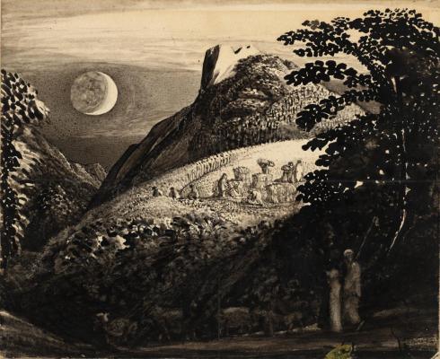 The Harvest Moon: Drawing for 'A Pastoral Scene' c.1831-2 by Samuel Palmer 1805-1881