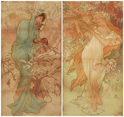 Winter and Spring Mucha collage