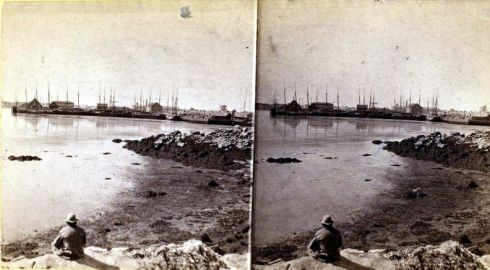 Salem Harbor Stereoview Naugus Head
