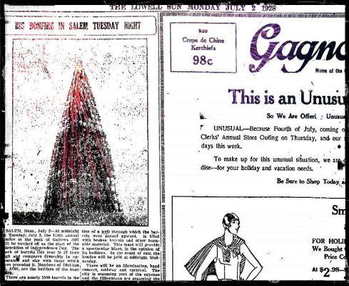 Bonfire 1928 Lowell Sun