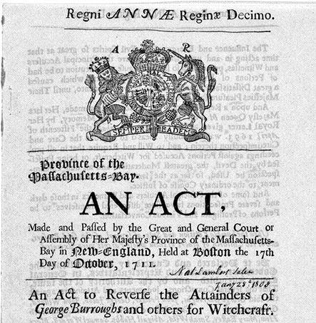 Exoneration Witchcraft 1711