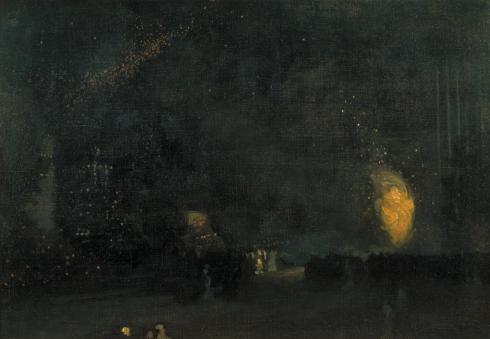 Nocturne: Black and Gold - The Fire Wheel 1875 by James Abbott McNeill Whistler 1834-1903