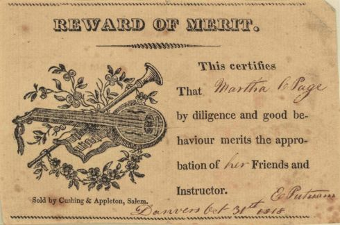 Reward of Merit Salem 1818