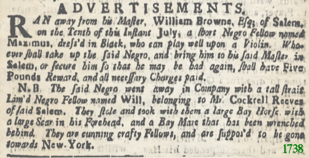 Slave Adverts Boston Evening Post July 24 1738