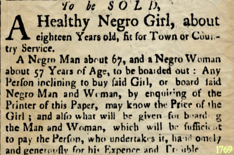 Slave Adverts June 13 1769 Essex Gazette