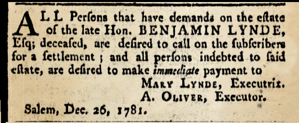 Lynde Salem Gazette 1781