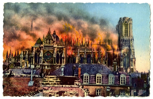 Vanished Halls Reims_Cathedral_burning_during_World_War_I